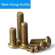 Phillips Brass Pan Head Machine Screw Metric Thread Cross Recessed Round Head Metal Bolt Hardware Fastener M2 M2.5 M3 M4 m2 m2 5 m3 m4 phillips cross recessed pan head machine screw iron metric thread round head bolt black steel