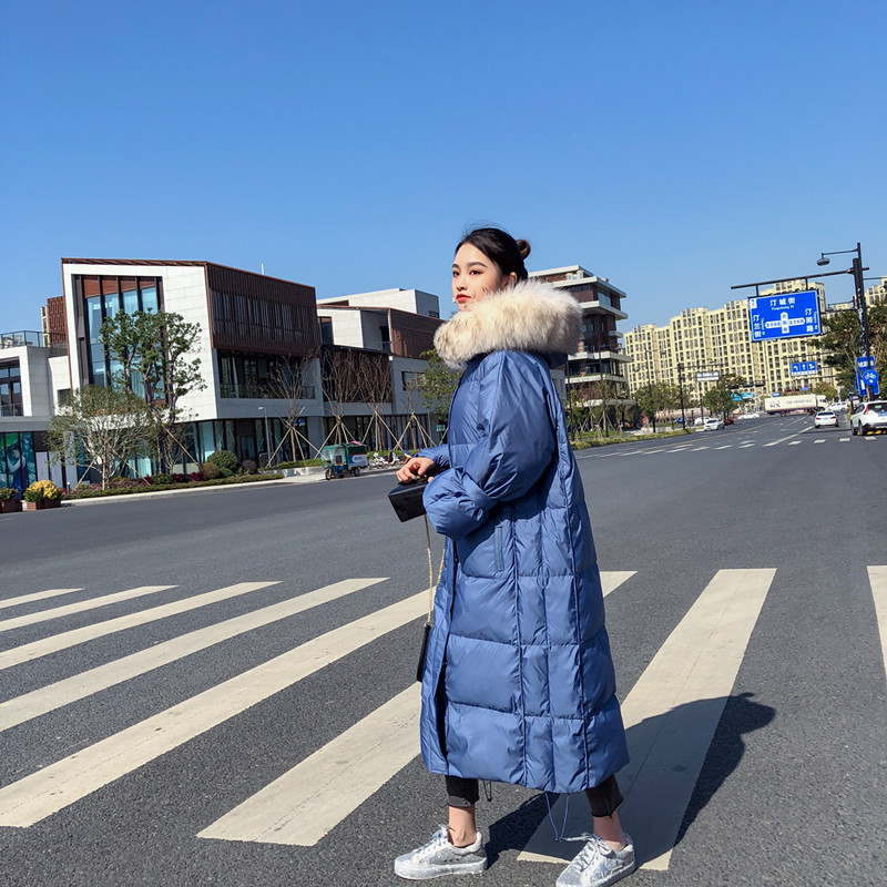White Duck   Down     Coat   Female 2018 New Korean Warm Thick Large Raccoon Fur With Hooed Over Knee X-long Winter   Coat   Plus Size