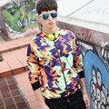 Otoño Invierno hombre Sudaderas Con Capucha casual patrones de Camuflaje más tamaño geometría Colorida Creativa L-4XL Loose pullover sweatshirs