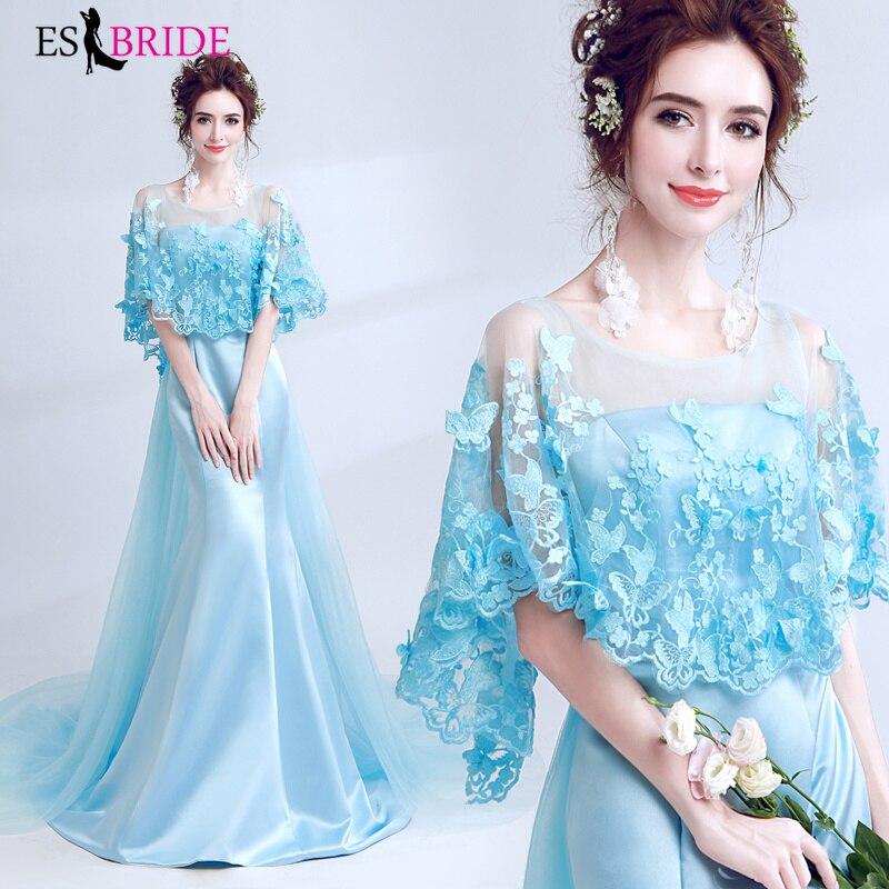 Sky Blue   Evening     Dress   Long Vestidos De Fiesta De Noche Lace Appliques   Evening     Dresses   Party   Evening   Gown Robe De Soiree ES2173