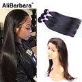 8A Brazilian Straight Hair With Closure 360 Lace Frontal With Bundles  360 Lace Frontal Closure Natural Hairline With Bady Hair