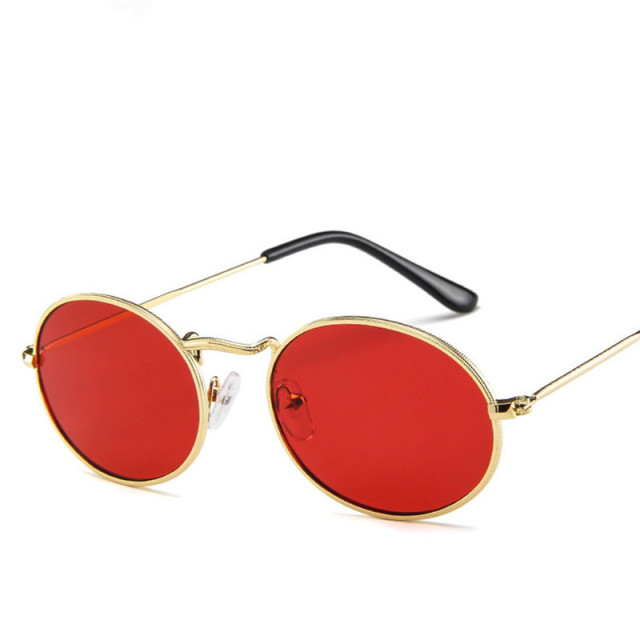 2019 Oval Women Sunglasses Men Glasses Lady Luxury Retro Metal Sun Glasses Vintage Mirror UV400 oculos de sol