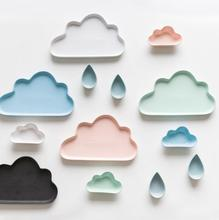 3pcs Ceramic Porcelain Cloud Rain Plate Matt Smooth Novel Cute Dish Dinnerware Kid Children Baby plate wholesale