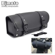 Bjmoto Motorcycle Racing Travel Bag Luggage Saddle Tool SaddleBag PU Leather Storage Pouch For Harley