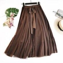Falda larga Vintage almazuela de terciopelo de Invierno para mujer, faldas tutú de cintura alta con cordones para mujer, ropa de estilo Saias Krean