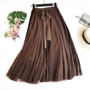 Image 1 - Hiver Vintage velours Patchwork jupe longue femmes taille haute lacets Tutu jupes Femininas Saias Krean Style vêtements