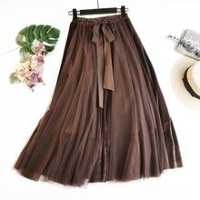 Winter Vintage Velvet Patchwork Long Skirt Women High Waist Lace Up Tutu Skirts Femininas Saias Krean Style Clothing
