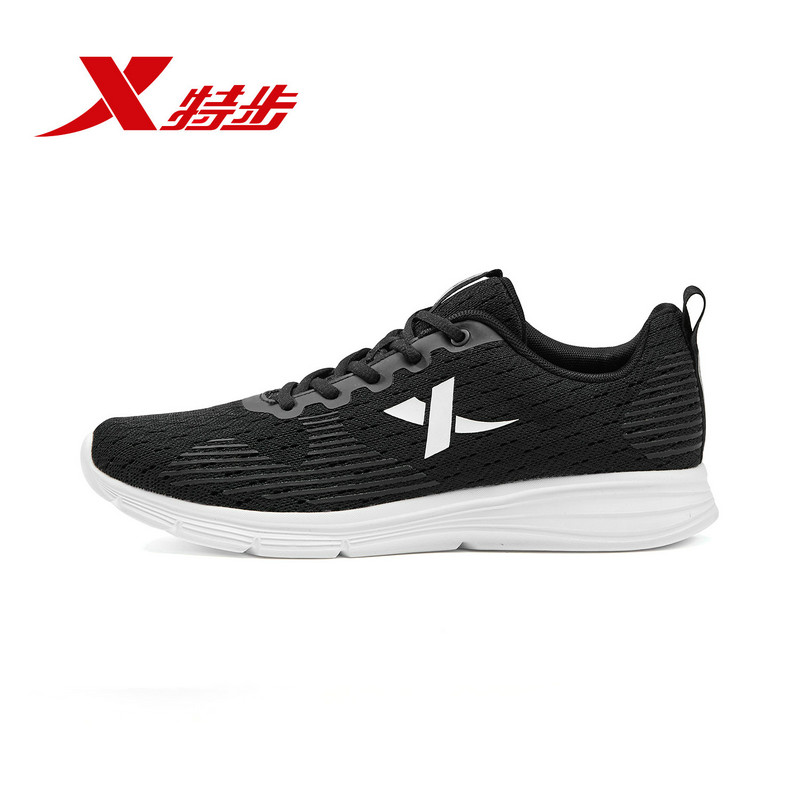 881219529521 Xtep Men's Shoes 2019 Spring New Pure Black Sports Shoes Male Students Winter Running Shoes Casual Fitness Shoes