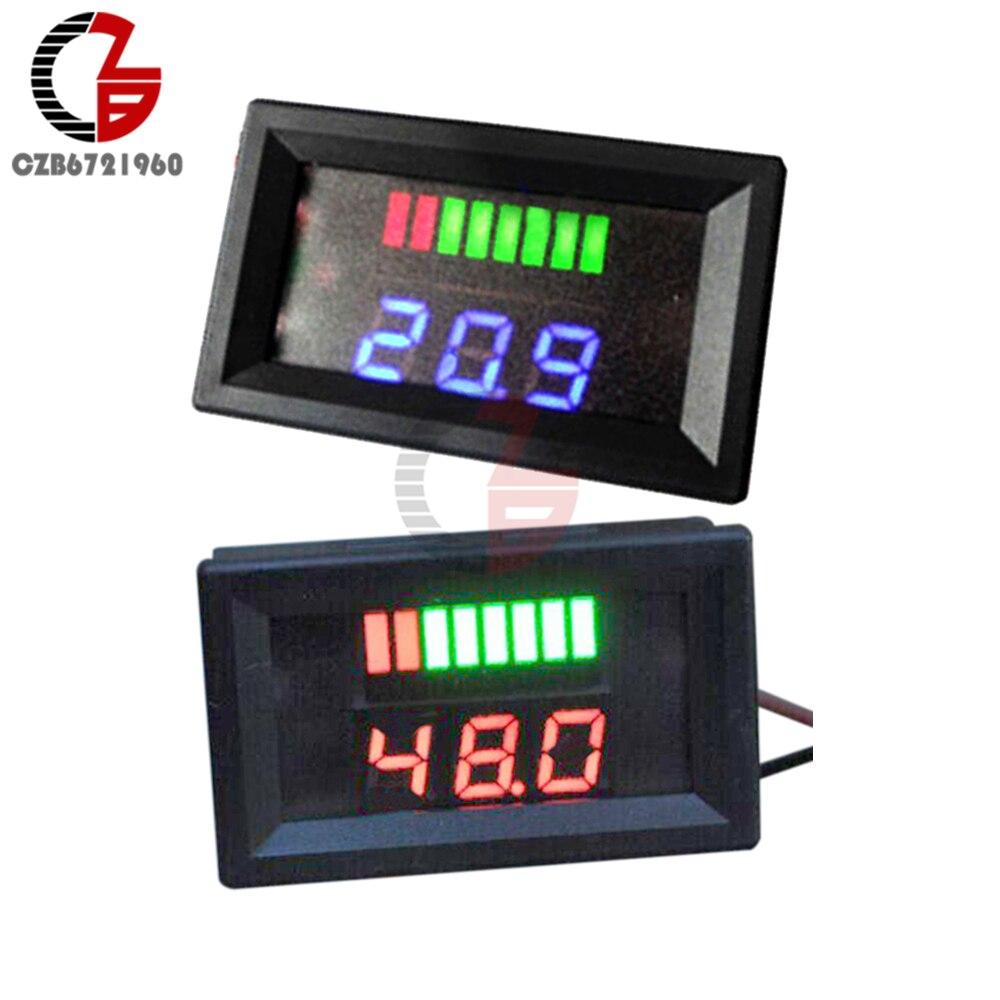 DC 48V Digital Analog Battery Capacity Indicator Voltmeter Voltage Meter Car Motorcycle Lead-acid Battery Volt Tester Detector