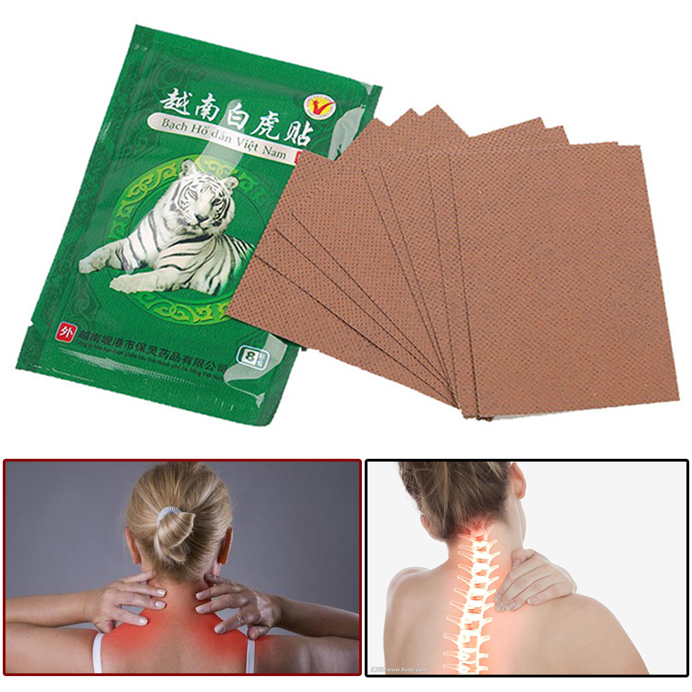 8pcs  White Tiger Balm Chinese Herbs Medical Plaster For Joint Pain Back Neck Curative Plaster knee pads for arthritis G07002