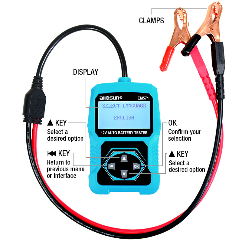Automotive Check In Diagnostic Meter EM571 ALL 12V Digital Vehicle Analyzer 3 Car Tester Battery Multifunction 1 SUN