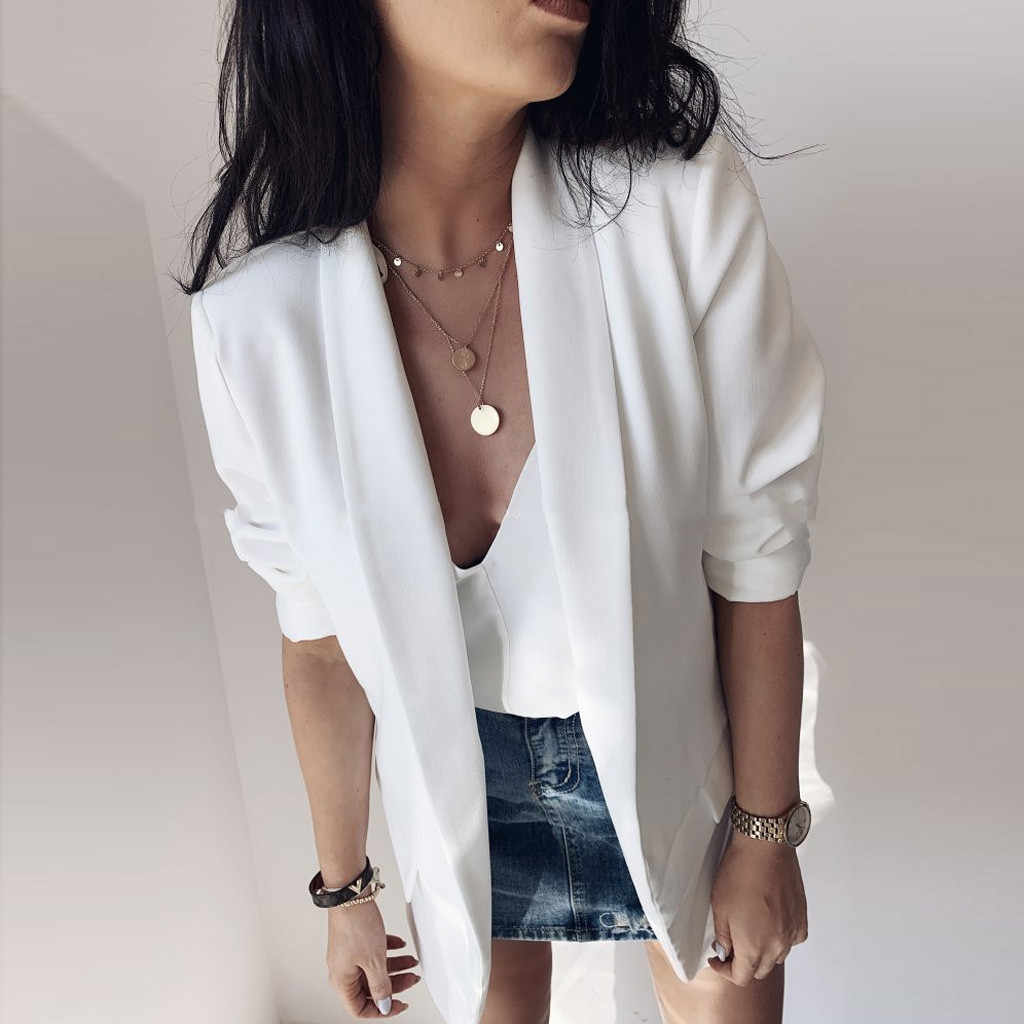 Klassische Elegante Karriere Blazer Frauen Langarm Gefälschte Tasche Knopf Büro Casual Kleine Blazer Strickjacke Herbst Outwear # W