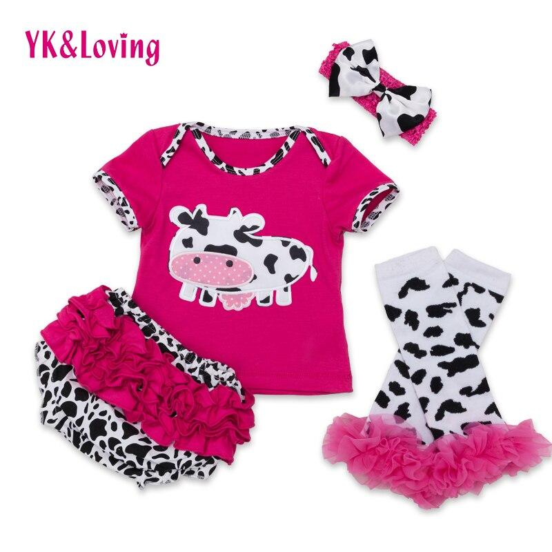 Cartoon Baby Clothing Newborn Cute Toddler Girl Cotton Short Sleeve Cow Print Top Ruffles Legging Headband