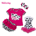 Cartoon Baby Clothing Newborn Cute Toddler Girl Cotton Short Sleeve Cow Print Top Ruffles Short Legging Headband Free Shipping