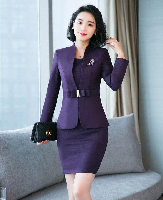 Trajes de vestir formales de alta calidad para mujer trajes de negocios  Blazer y chaqueta conjuntos 09ecc286a552