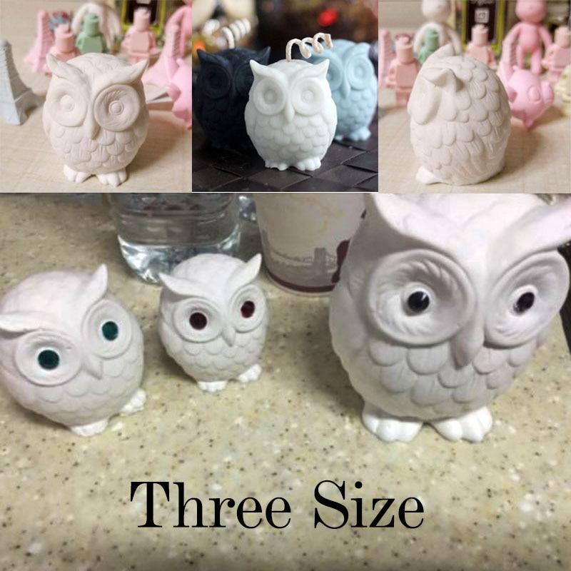 Jabón de silicona con forma de búho animal moldea tres tamaños para velas de bricolaje, pastelería, decoración del hogar moldes para velas