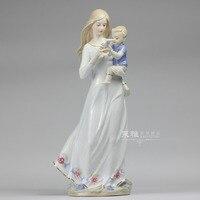 Керамическая материнская любовь леди фигурка домашнего декора ремесел украшения комнаты ремесленных орнамент фарфоровая статуэтка стари