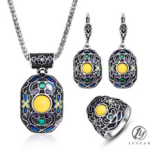 Boho Enamel Jewelry Sets For Women Vintage Jewelry Antique Silver Color Geometric Metal Pendant Necklace Earrings Ring Set 20%