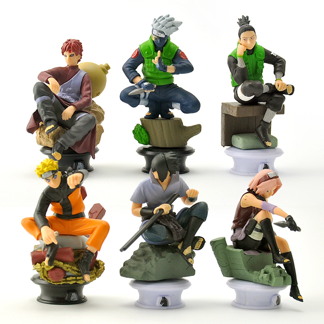 6pcs/lot 9.5cm Naruto Chess Action Figures Toys New Sasuke Naruto Shippuden Uzumaki Hinata Madara Kakashi Model Toy