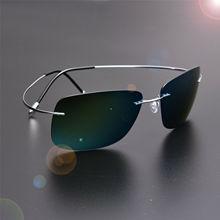 ZJHZQZ Screwless Frameless Ultra Light Hingeless Sunglasses Rimless Pure Titanium High Quality Polarized Eyeglasses Red Pink