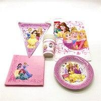 Шесть принцесса 47 шт./лот чашка + тарелка + салфетка + Tablecover малыш День рождения фестиваль disney мультфильм баннеры Свадебные украшения питания
