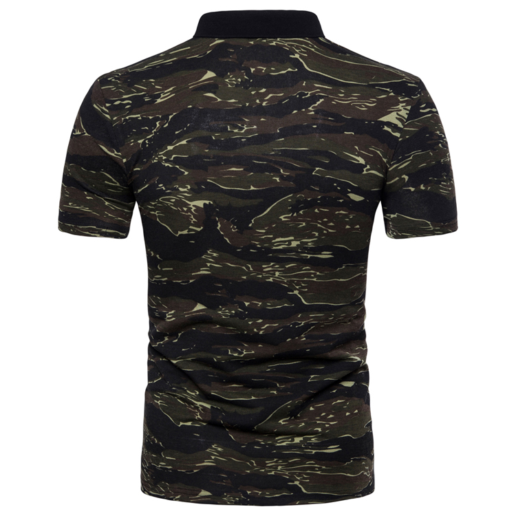 Men's Top Regular Gradient Print Breathable Cotton Short Sleeve 2018 Spring And Summer New Casual Camouflage Polo Shirt 41
