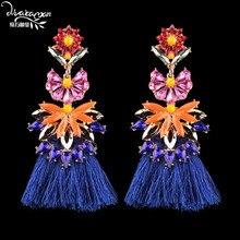 Dvacaman Brand Luxury Crystal Flower India Bride Drop Earrings Women Bohemian Handmade Long Tassel Fringes Earrings Jewelry QQ53