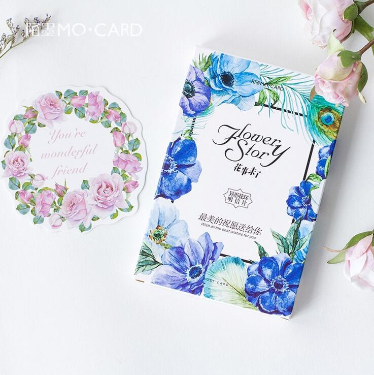30 pcs/pack Wonderful Flower Story Greeting Card Postcard Birthday Gift Card Set Message Card Letter Envelope Gift Card 30 pcs pack creative cup of coffee shape coffee diary postcard diy envelope gift birthday card mini message card paper bookmark