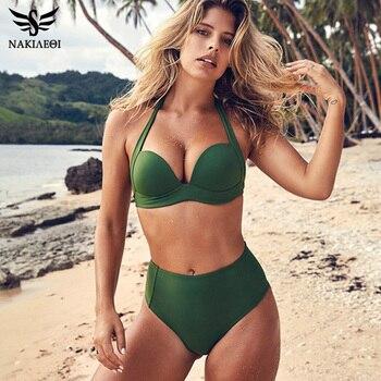 NAKIAEOI 2019 Newest Sexy Halter Bikinis Women Swimsuit Push Up Swimwear High Waist Swimsuit Retro Bikini Set Bathing Suits S~XL 1