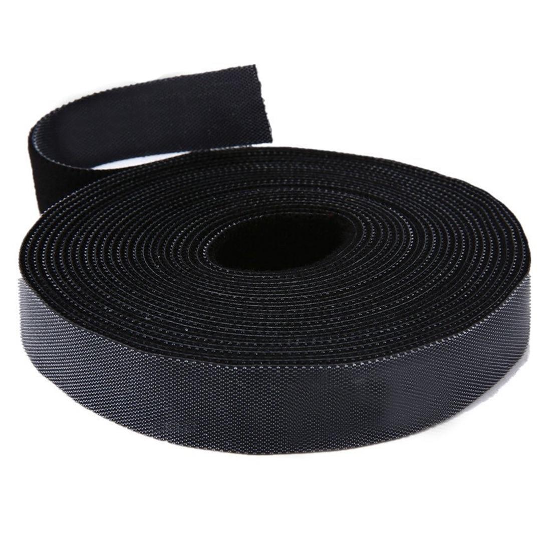 Long Fastening Tape 2cm One Wrap Hook Loop Fastening Tape Cable Ties 5M Black
