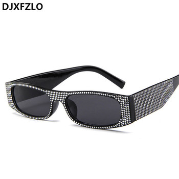 DJXFZLO Small square fashion sunglasses Retro evening glasses cross-border hot sunglasses women brand designer blue sea UV400