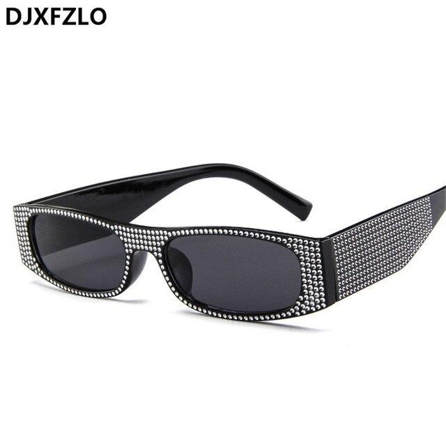 DJXFZLO Small square fashion sunglasses Retro evening glasses cross-border hot sunglasses women brand designer blue sea UV400