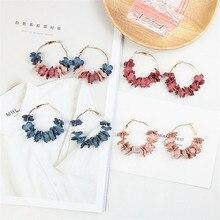 Japan Korean Sweet Cute Round Circle Fabric Flower Simple Romantic Hoop Earrings Fashion Jewelry-LAF