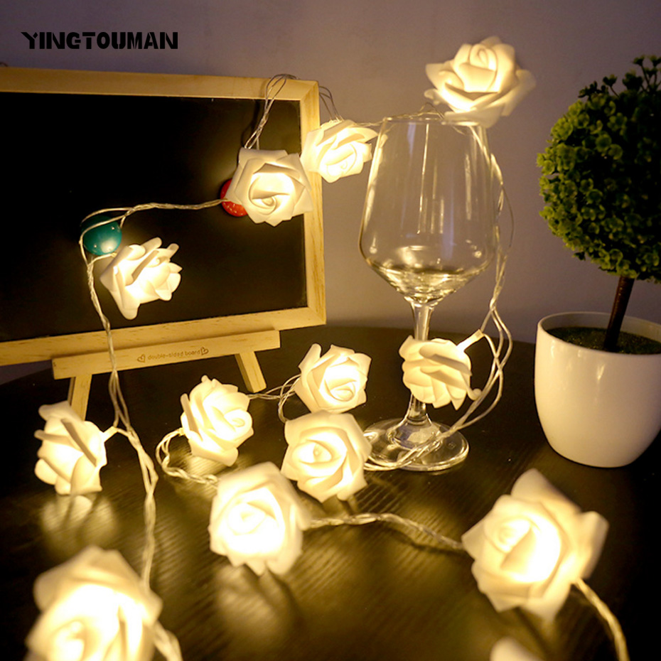 YINGTOUMAN 10M 100LED Flower Type Plugs Christmas Party Lights Garden String Light Outdoor Decorative Rose Flower Lamp ...