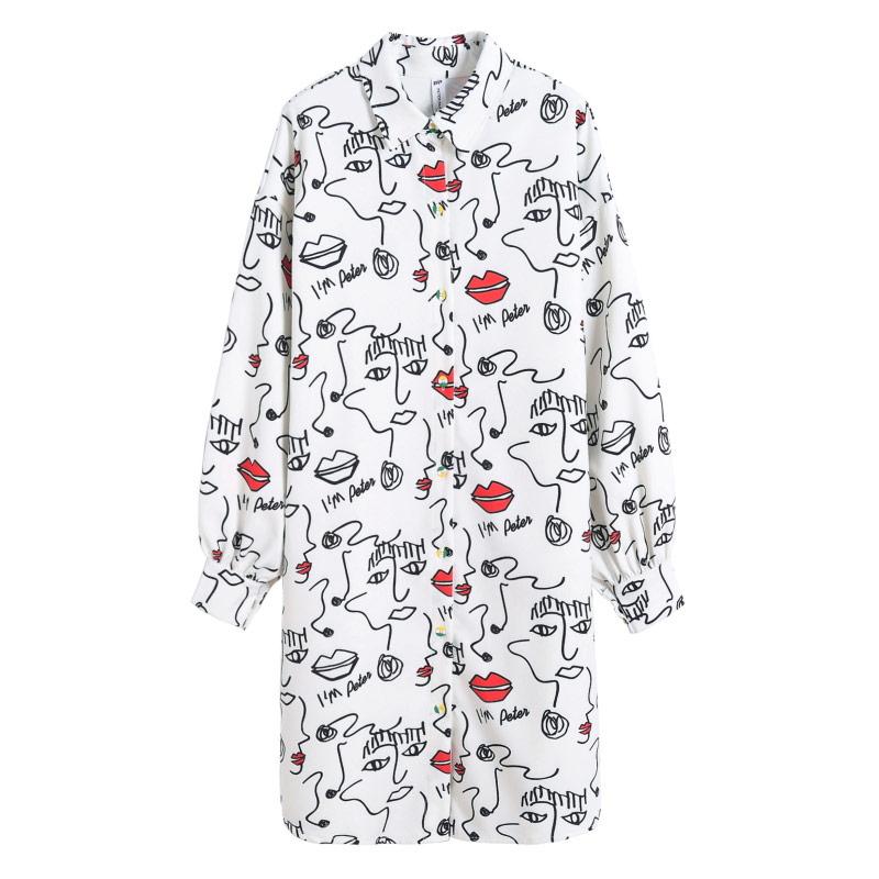 047bb98cada43 TREND Setter 2018 Moda Primavera Camisa Branca Longa Das Mulheres Dos  Desenhos Animados Face eo Lábio Blusa Solta Casuais Verão Moda Streetwear  em Blusas ...