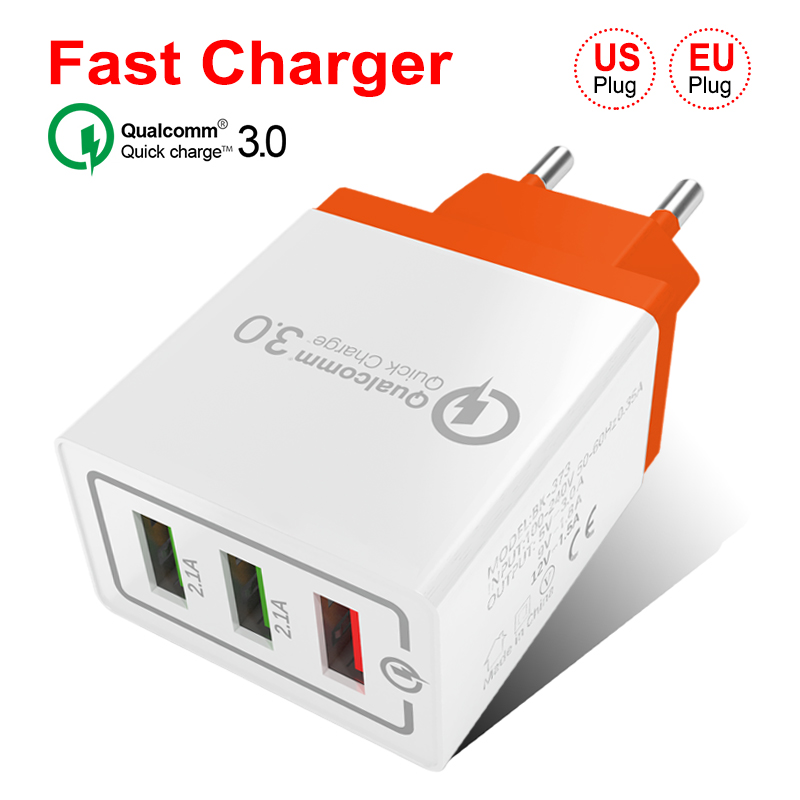Fast Wall Charger For Samsung S9 Xiaomi 18 W 3 USB Mobile Phone Fast Wall Plug For IPhone X 8 7 Huawei