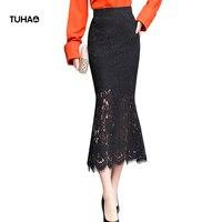 TUHAO 2018 Autumn Fishtail High Waist Lace Skirt Packaged Hip Slim Fit Step Mermaid Long Skirts Jupe Longue Femme TSK644