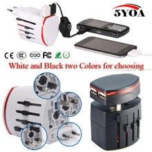 2USB Universal World Travel Adattatore del Caricatore della Spina All in one AC Power Adapter Converter per US/UK/AU/EU Plug Socket Internazionale
