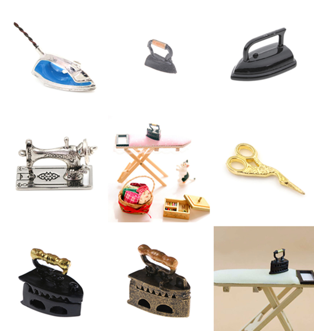 Scale 1/12 Sewing Machine Iron Board Simulation Home Furniture For Girl Doll House Decoration Dollhouse Miniature Accessories