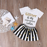 2pcs Baby Set Newborn Infant Baby Girls Clothes Summer White Cotton Short Sleeve Letter Romper Striped