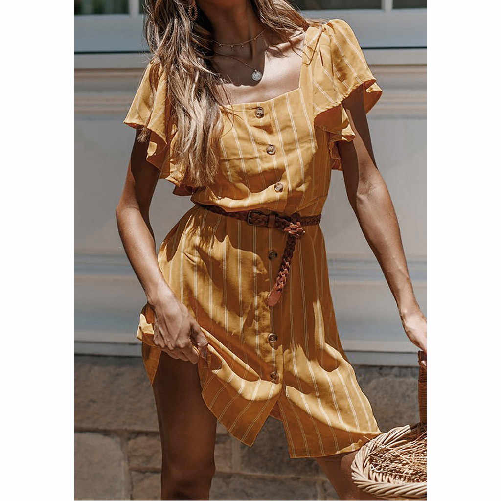 Летнее платье без рукавов для женщин; летнее праздничное платье в полоску с ремешками; платье в стиле бохо; сарафан с поясом; шифоновое платье с принтом; Robe femme