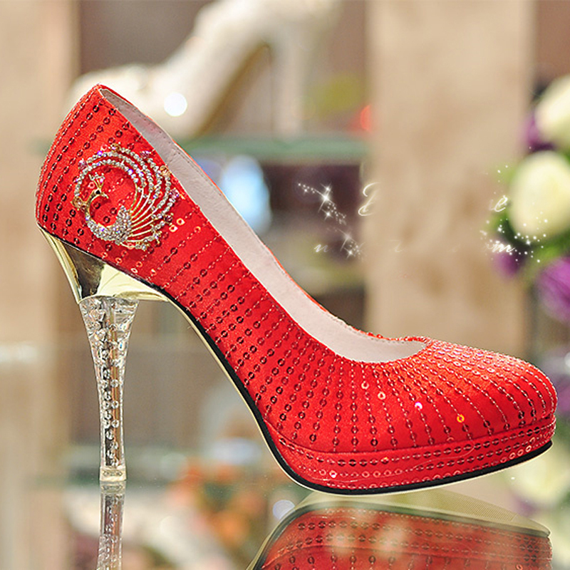 Aliexpress Buy Red High Heel Wedding Shoes Glitter Crystal Heel Party Prom Shoes Bridal