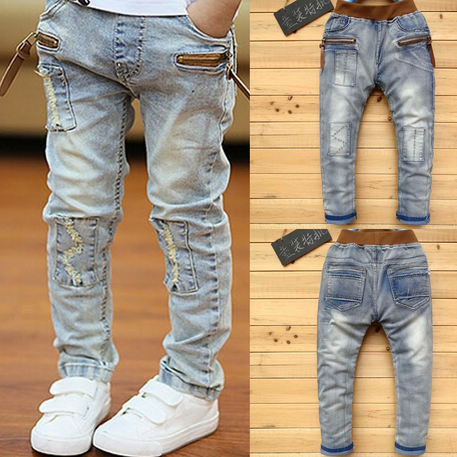 DIIMUU Child Boys Jeans Light Washed Straight Denim Pants Kids Cotton Casual Stretch Fashion Trousers for 5-13 Years