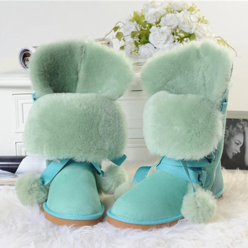 UVWP New 100% Natural Fur Women Snow Boots Fashion High Boots Genuine Sheepskin Leather Warm Wool Winter Boots Free Shipping