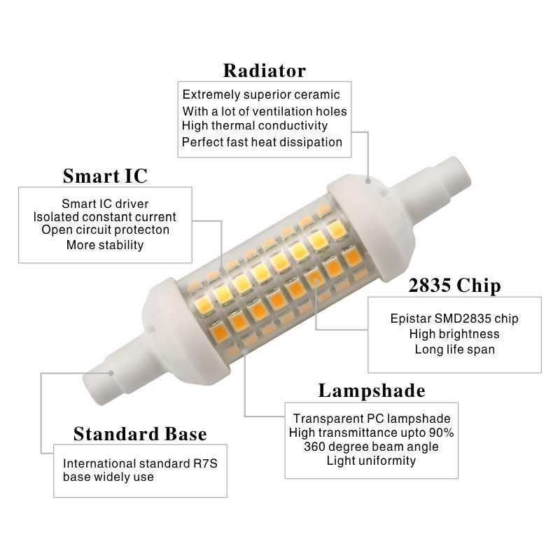 Bombilla LED R7S de 78mm, 118mm, 135mm, r7s, 6 w, 9 w, 12 w, SMD 2835, lámpara LED de 220 V, bombilla halógena de repuesto ahorradora de energía