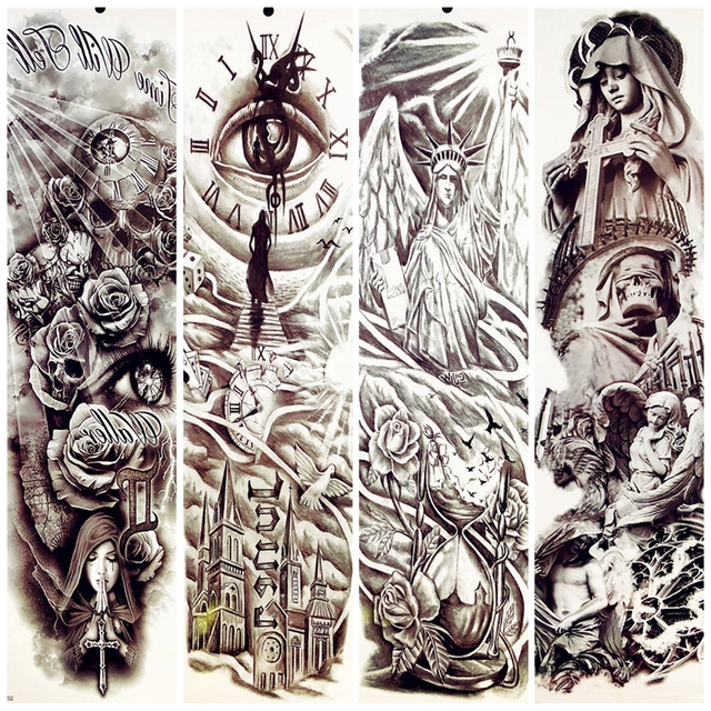 3d Full Body Flower Arm Sleeve Temporary Tattoo Totem 48 17cm Statue