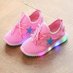 Высокое качество Демисезонный Дети Мальчики Девочки обувь унисекс светодиодный свет обувь световой звезды обувь для детские, для малышей
