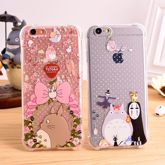 Totoro With Clear Transparent Shockproof Cover for iPhone