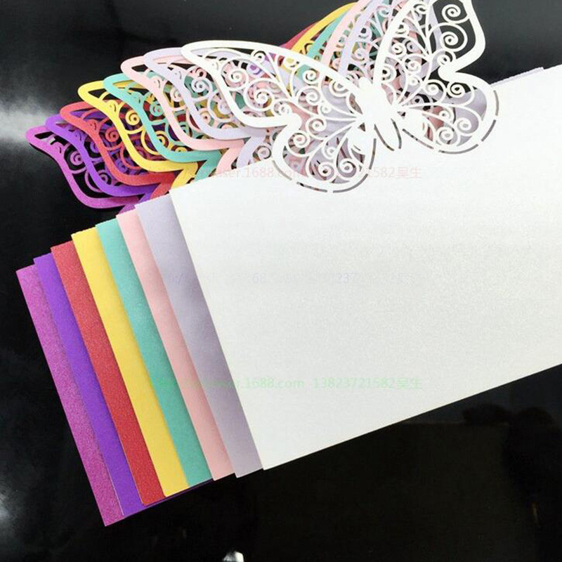 100 шт., бумажная огранка, бабочка лазер, вырезание, место, карты, имя, таблица, знак, свадьба, вечеринка, украшение, приглашения любезности