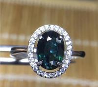925 Серебро инкрустированные Природный сапфир кольцо 6*8 мм Высокое качество чистого Gem хорошую прозрачность для Для мужчин или женщина